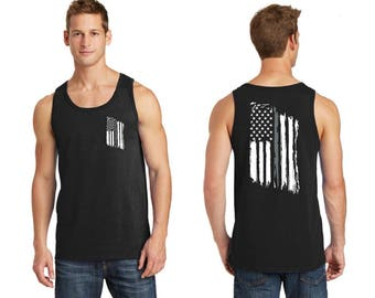Tattered American Flag Thin Silver Line Corrections Officer Tank Top