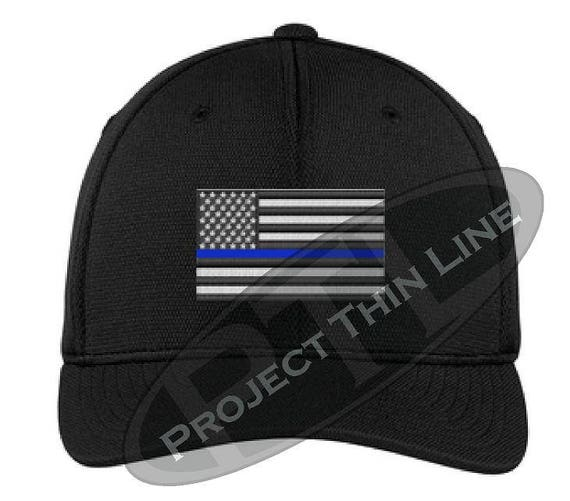 Embroidered Thin Blue Line Flag Flex Fitted Trucker Hat  33eb686dcd87