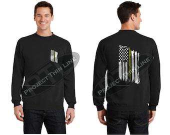 Tattered American Flag Thin Gold Line Crewneck Sweatshirt - Dispatchers