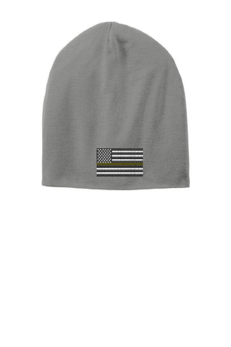 92c9b96f9 Grey Thin YELLOW Line Flag Slouch Beanie Hat - Security Officers & Tow  Truck Drivers