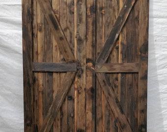 Rustic barn door with chalkboard back