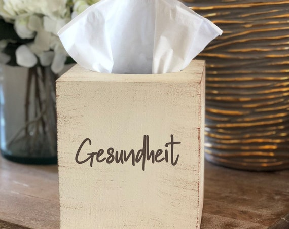 Distressed Gesundheit Tissue Box Cover ~ Kleenex Box Cover ~ Home Decor ~ Choose Your Colors ~ Gift for Boss Office ~ Tabletop Decor
