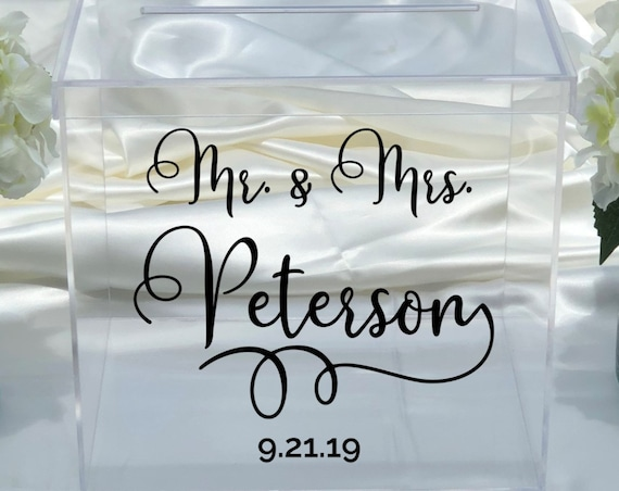 Personalized Wedding Clear Acrylic Card Box - Choose The Size- Engagement Party - Bridal Shower - Anniversary - Decor - Locking Option