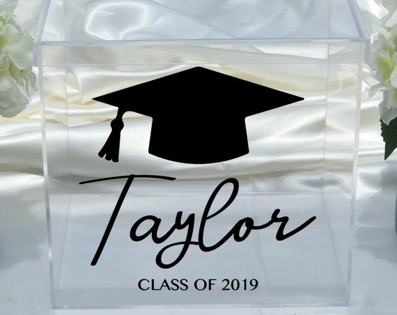Personalized Graduation Clear Acrylic Card Box - Class of 2019 - Class of 2020 - Choose The Color