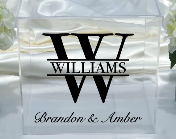 Personalized Wedding Clear Acrylic Card Box ~ Date ~ Choose The Size ~ Engagement Party ~ Bridal Shower ~ Anniversary ~ Decor ~ Money Box
