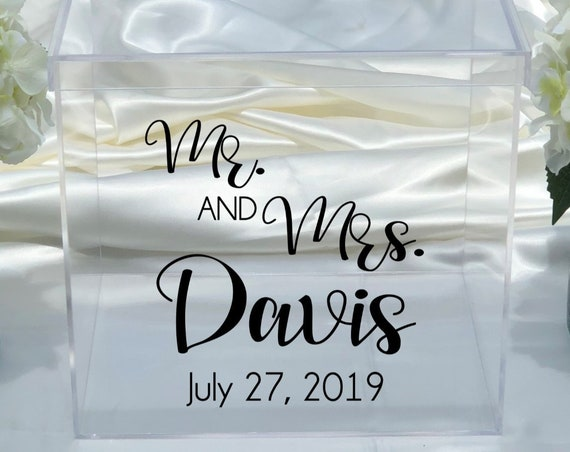 Personalized Mr and Mrs Wedding Clear Acrylic Card Box - Date - Choose The Color - Engagement Party - Bridal Shower - Anniversary - Decor
