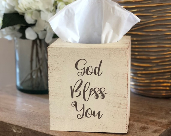 Distressed God Bless You Tissue Box Cover  ~ Kleenex ~ Home Decor ~ Choose Your Colors ~ Nightstand Decor ~ Tabletop Decor