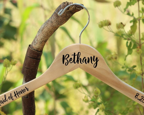 Personalized Bridesmaid Hangers - Bride - Maid of Honor - Wedding Party - Wood Hanger - White Gold or Natural Silver