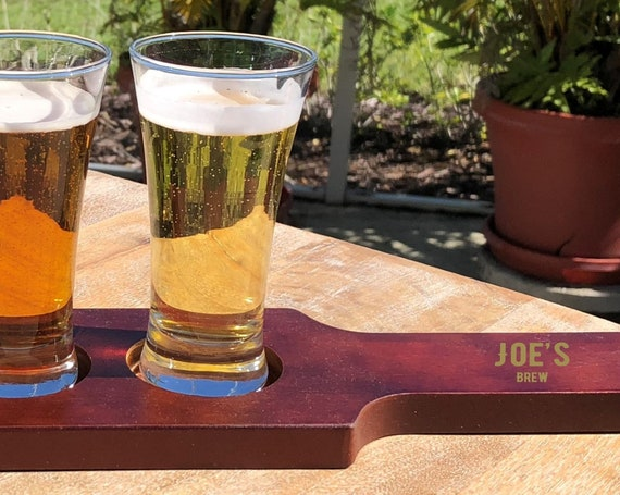Personalized Brew Beer Flight Set ~ Beer Paddle ~ 4 Tasting Glasses ~ Name Brew ~ Gift For Him ~ Groomsman Gift ~ Christmas Gift
