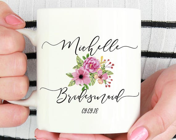 Bridesmaid Mug ~ Personalized ~ Gift for Bride ~ Bridesmaid ~ Maid of Honor ~ Bridal Party Gift ~ Bridal Shower Gift ~ Bride Gift
