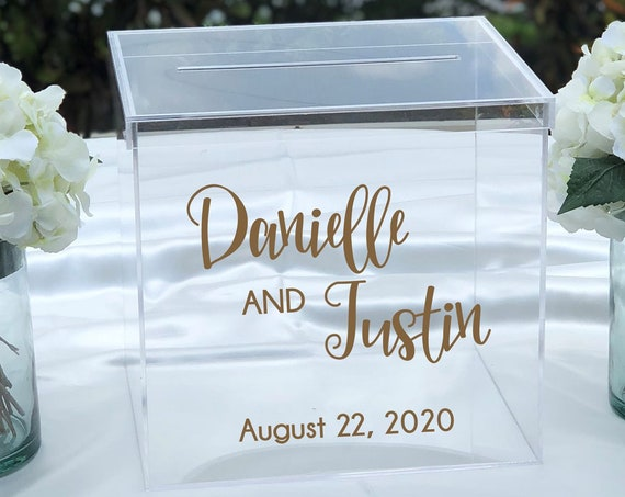 Personalized Wedding Clear Acrylic Card Box ~ Choose Size & Color ~ Engagement Party ~ Bridal Shower ~ Anniversary ~ Decor ~ Locking Option