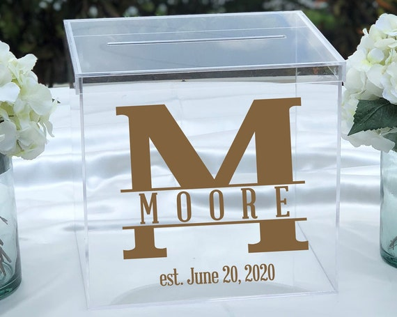 Personalized Acrylic Card Box ~ Choose Size ~ Locking Option