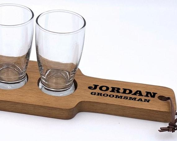 Personalized Groomsman Beer Flight Set ~ Beer Paddle ~ 4 Tasting Glasses ~ Best Man ~ Usher ~ Groom Gift