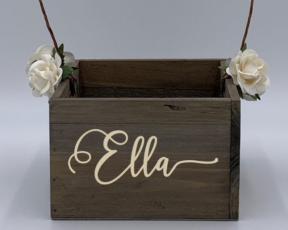 Personalized Name Flower Girl Basket ~ Flower Girl Box ~ Choose Your Colors and Wording ~ Wedding Basket ~ Sign ~ Wedding Box ~ Rustic Decor