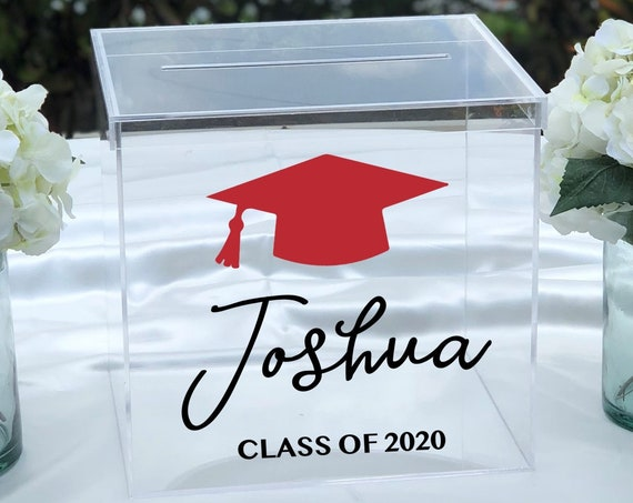 Personalized Graduation Card Box ~  2 Colors Clear Acrylic ~ Class of 2020 ~ Class of 2021 ~ School Colors ~ Graduation Cap ~ Decor