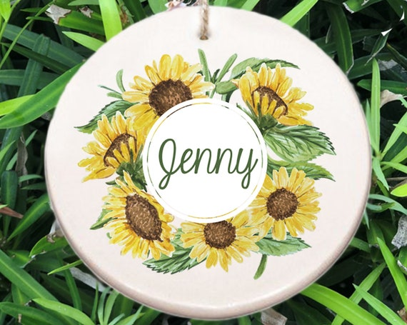 Personalized Sunflower Name Christmas Ornament ~ Sunflower Ornament ~ Name ~ Christmas Gift ~ Office Gift ~ Coworker Gift ~ Gift for Her Him