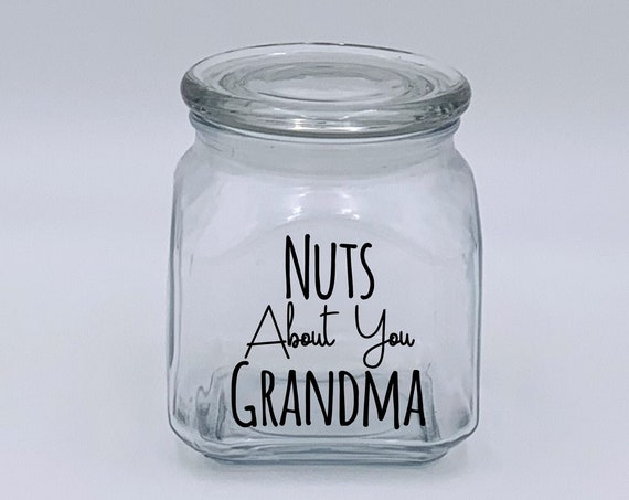 Nuts About You Grandma Nut Jar ~ Made in USA ~ Glass