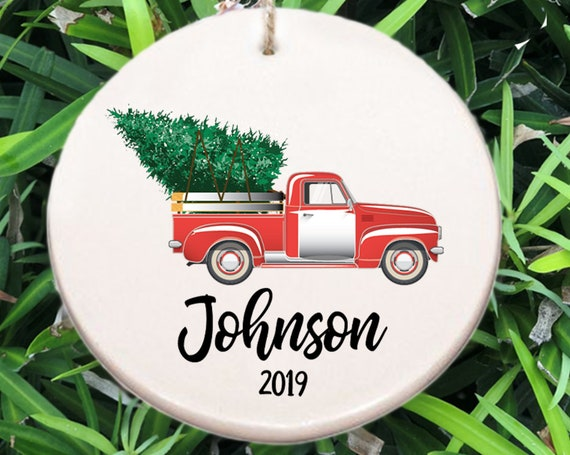 Personalized Family Name Christmas Ornament ~ Last Name Ornament ~ Year ~ Christmas Gift ~ Truck and Christmas Tree ~ Wedding Gift