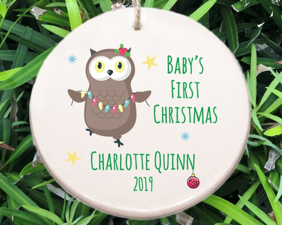 Baby's First Christmas Ornament ~ Choose Animal ~ Reindeer ~ Owl ~ Bear ~ Bunny ~ Fox ~ Racoon ~ Baby Shower Gift ~ Newborn Christmas Gift