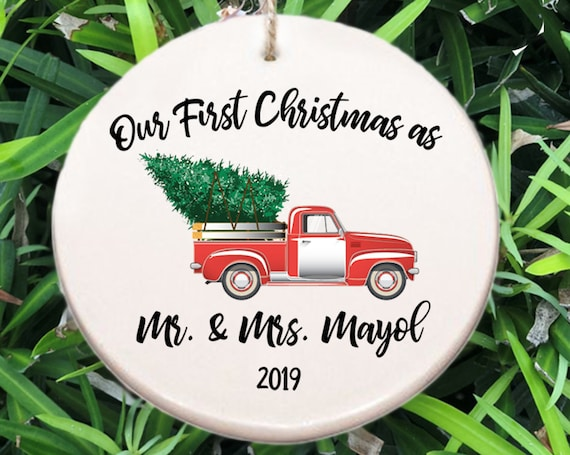 Personalized Newlyweds First Christmas Ornament ~ Family Name Ornament ~ Year ~ Christmas Gift ~ Truck and Christmas Tree ~ Wedding Gift
