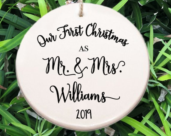 Personalized Our First Christmas Ornament ~ Our First Christmas as Mr & Mrs ~ Year ~ Christmas Gift ~ Newlyweds ~ Wedding Gift