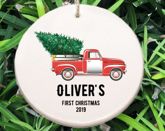 Baby's First Christmas Ornament ~ Truck ~ Baby Ornament ~ Baby Shower Gift ~ Christmas Gift ~ Baby Boy Gift ~ Truck and Christmas Tree