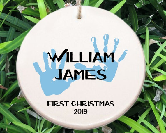 Baby's First Christmas Ornament ~ Blue Hands ~ Baby Ornament ~ Baby Shower Gift ~ Christmas Gift ~ Baby Boy Gift ~ Baby Hands ~ Newborn Gift