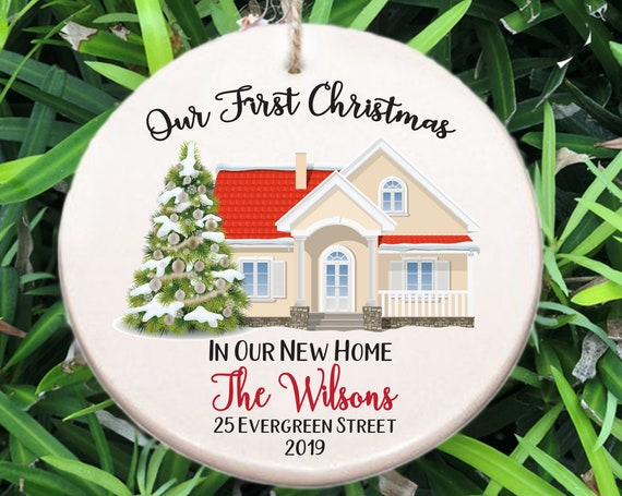 Personalized Our First Christmas in Our New Home Ornament ~ Address ~ Year ~ Christmas Gift ~ New Homeowners ~ Housewarming Gift