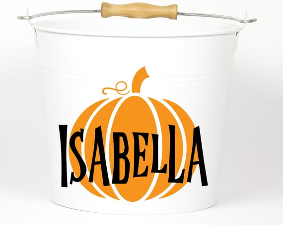 Personalized Halloween Pumpkin Name Pail - Trick or Treat - Choose The Color - Metal Pail Bucket Basket Bag for Girls and Boys