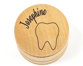 Personalized Tooth Fairy Box - Wood - Engraved - Tooth Under the Pillow - Holder - Solid Maple