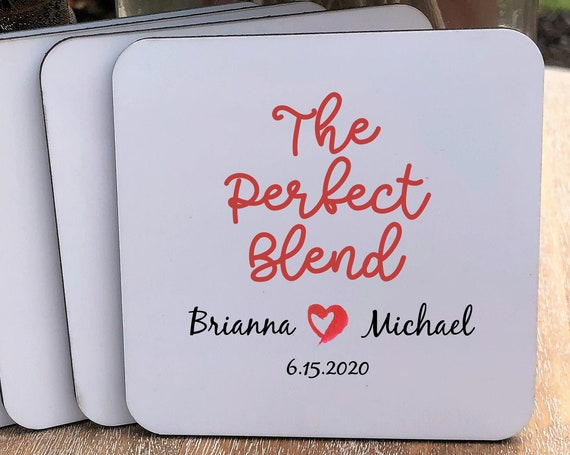 Perfect Blend Coasters Set ~ Personalized ~ Cork Back  ~ Gift for Couple ~ Personalized Coasters ~ Personalized Gift ~ Christmas Gift