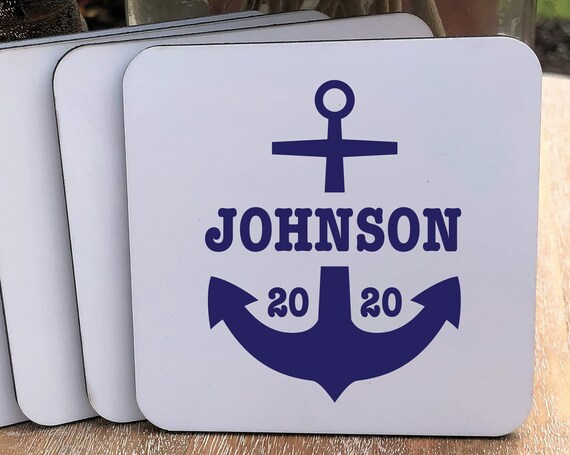 Personalized Anchor Coasters Set ~ Cork Back  ~ Gift for Couple ~ Est Year ~ Personalized Coasters ~ Personalized Gift ~ Christmas Gift