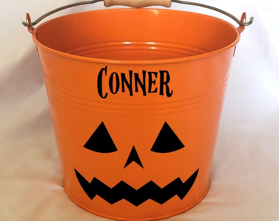 Personalized Halloween Pumpkin Name Pail - Trick or Treat - Metal Pail Bucket Basket Bag for Girls and Boys - Pumpkin Face