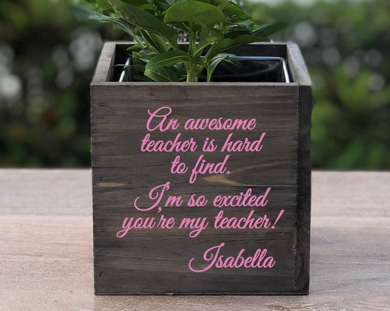 Personalized Awesome Teacher Wood Planter