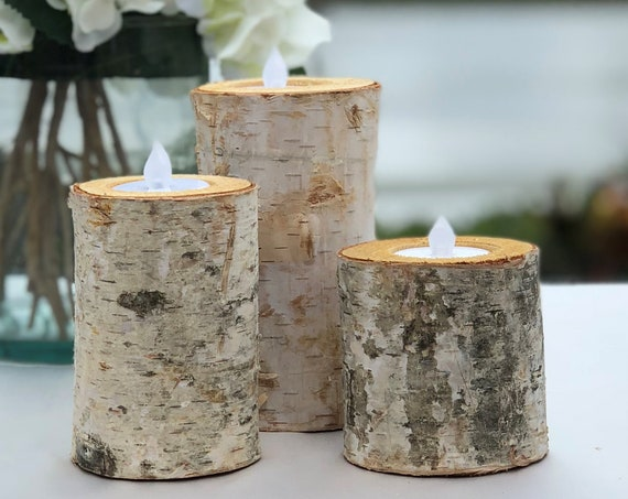 Birch Bark Log Candle Holders - Set of 3 - Tea Light - Rustic Chic - Wedding Centerpiece