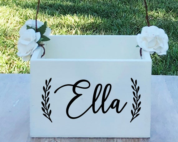 Personalized Name Flower Girl Basket ~ Flower Girl Box ~ Choose Your Colors ~ Wedding Basket ~ Flower Girl Sign ~ Wedding Box ~ Decor