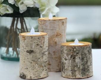 Birch Bark Log Candle Holders Set ~ Set of 3 ~ Choose the Size ~  Tea Light ~ Wood Rustic Chic ~ Wedding Centerpiece ~ Birch Log