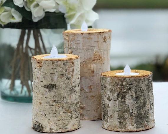 Birch Bark Log Candle Holders Set ~ Set of 3 ~ Choose the Size ~  Votive Tea Light ~ Wood Rustic Chic ~ Wedding Centerpiece ~ Birch Log