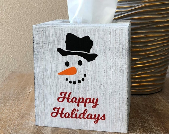 Happy Holidays Snowman Tissue Box Cover ~ Kleenex ~ Home Decor ~ Choose Your Colors ~ Home Decor ~ Holiday Decor ~ Christmas Decor