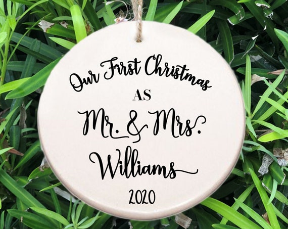 Personalized Our First Christmas Ornament ~ Our First Christmas as Mr & Mrs