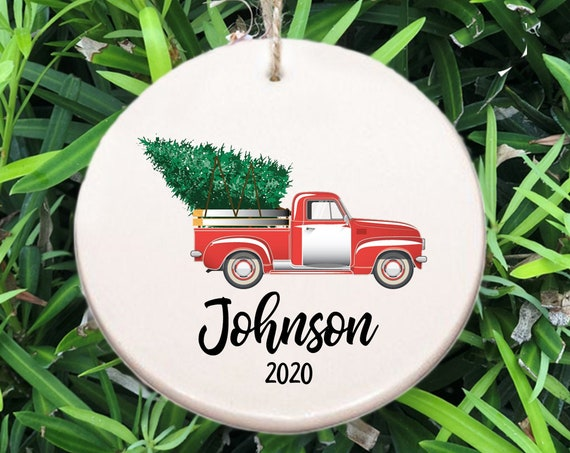 Personalized Family Name Christmas Ornament ~ Truck Hauling Tree