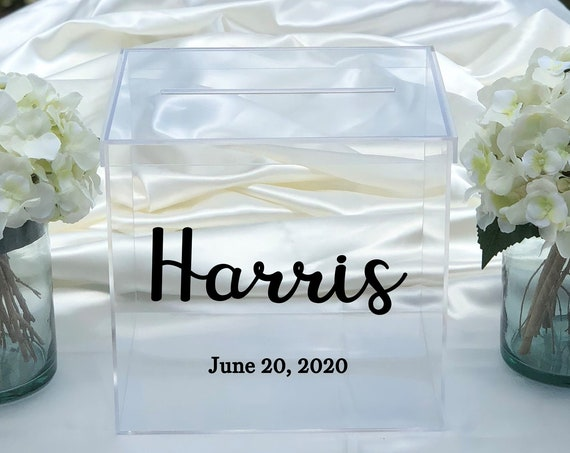 Personalized Wedding Clear Acrylic Card Box