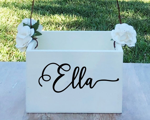 Personalized Name Flower Girl Basket ~ Flower Girl Box ~ Choose Your Colors and Wording ~ Wedding Basket ~ Sign ~ Wedding Box ~ Decor