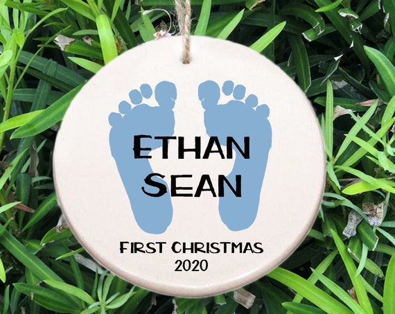 Personalized Baby's First Christmas Ornament ~ Baby Feet Ornament