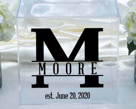 Personalized Wedding Clear Acrylic Card Box - Date - Choose The Color