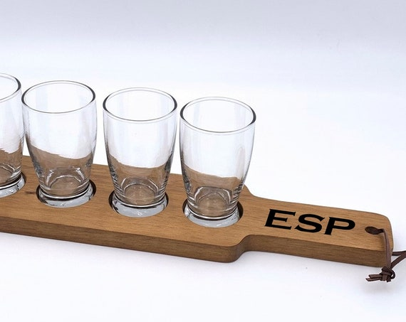 Personalized Beer Flight Set ~ Beer Paddle ~ ~ Initials ~ 4 Tasting Glasses ~ Gift For Him ~ Groomsman Gift ~ Christmas Gift ~ Fathers Day