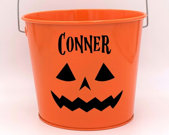 Personalized Jack O'Lantern Name Pail ~ Trick or Treat ~ Choose The Colors
