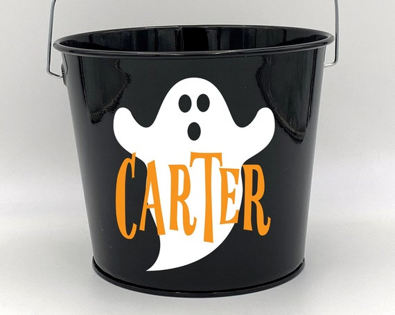 Personalized Halloween Ghost Name Pail ~ Trick or Treat ~ Choose The Colors