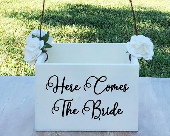 Here Comes The Bride Flower Girl Basket ~ Flower Girl Box ~ Choose Your Colors ~ Wedding Basket ~ Flower Girl Sign ~ Wedding Box ~ Decor