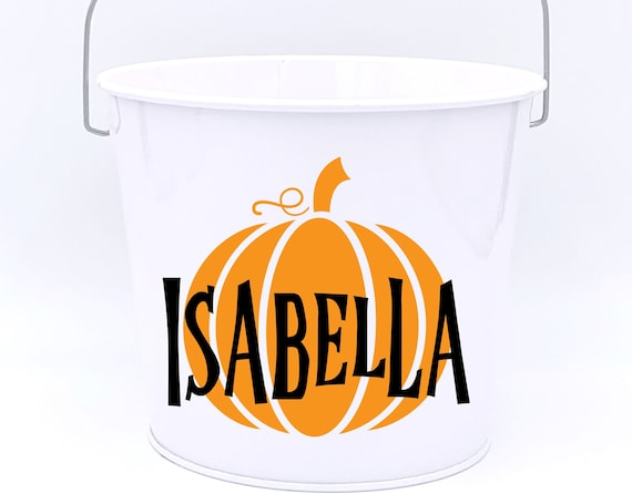 Personalized Halloween Pumpkin Name Pail ~ Trick or Treat